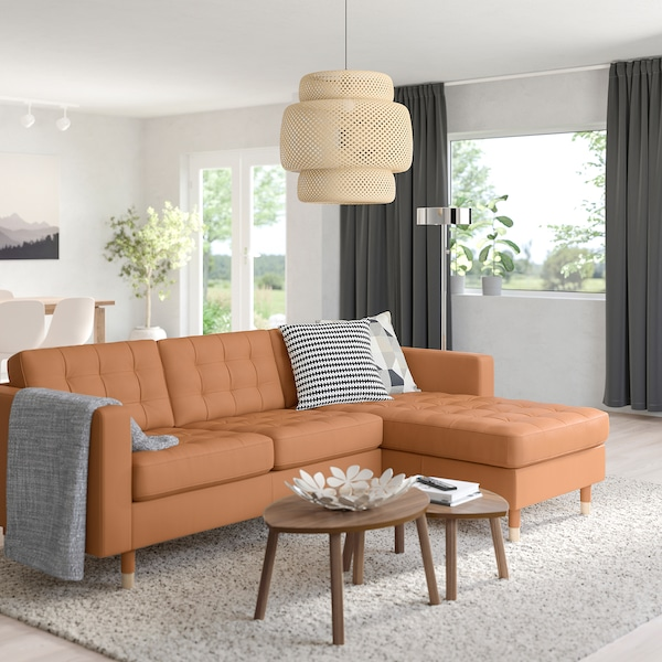MORABO Sofa, with chaise/Grann/Bomstad golden brown/wood