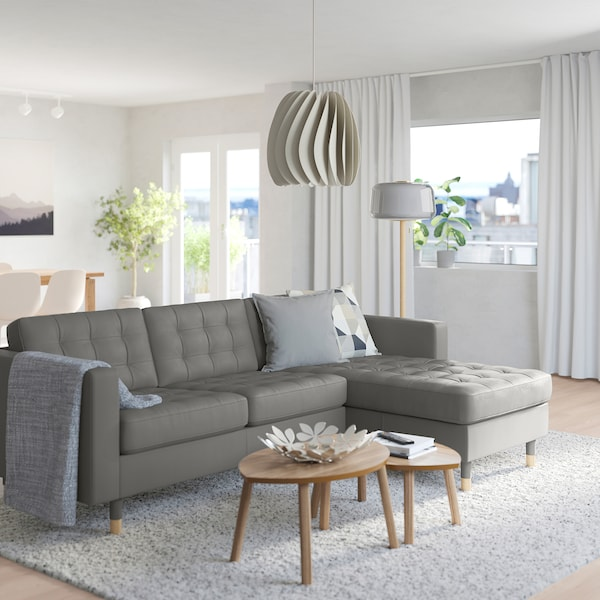 MORABO Sofa, with chaise/Grann/Bomstad gray-green/wood