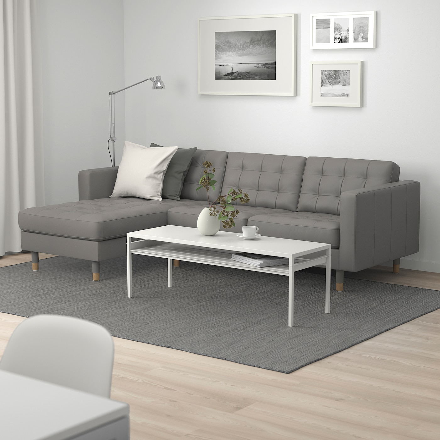 MORABO Sofa   with chaise/Grann/Bomstad gray green/wood