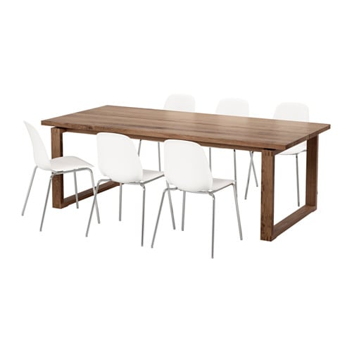 MÖRBYLÅNGA / LEIFARNE Table and 6 chairs, brown, white