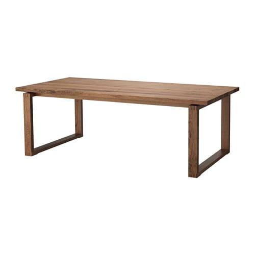 MÖRBYLÅNGA Table, oak veneer brown stained