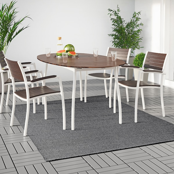 "MORUM Rug flatwoven, in/outdoor, dark gray, 5 ' 3 ""x7 ' 7 """