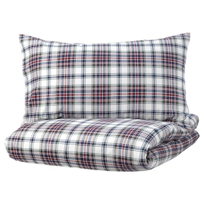 """MOSSRUTA duvet cover and pillowcase(s) multicolor/check 86 /inch² 1 pack 86 """" 64 """" 20 """" 30 """""""