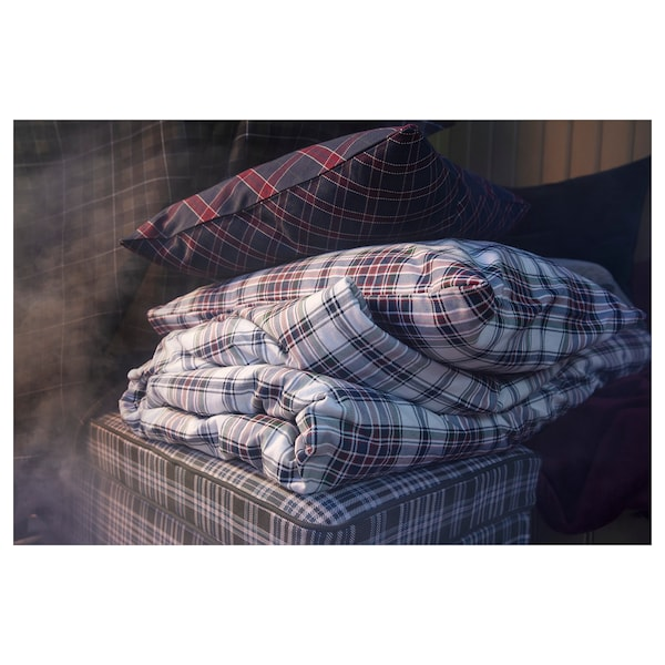 MOSSRUTA Duvet cover and pillowcase(s), multicolor/check, Twin