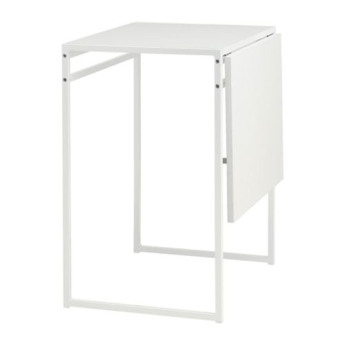 "MUDDUS Drop-leaf table white Min. length: 18 7/8 "" Max. length: 36 1/4 "" Width: 23 5/8 "" Height: 29 1/8 ""  Min. length: 48 cm Max. length: 92 cm Width: 60 cm Height: 74 cm"