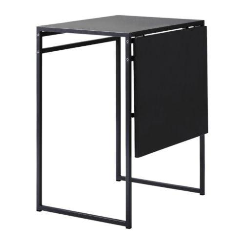 "MUDDUS Drop-leaf table, black Min. length: 18 7/8 "" Max. length: 36 1/4 "" Width: 23 5/8 "" Height: 29 1/8 ""  Min. length: 48 cm Max. length: 92 cm Width: 60 cm Height: 74 cm"