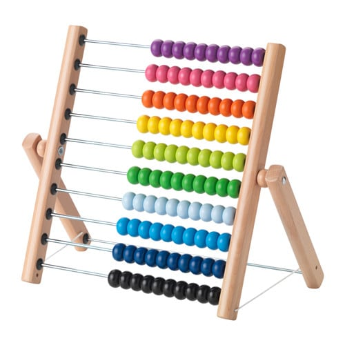 MULA Abacus IKEA One yellow, three greens and two blue ones.