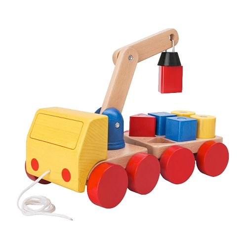 MULA Crane with blocks IKEA Moving blocks with a crane and pulling it around on a truck is so much fun.