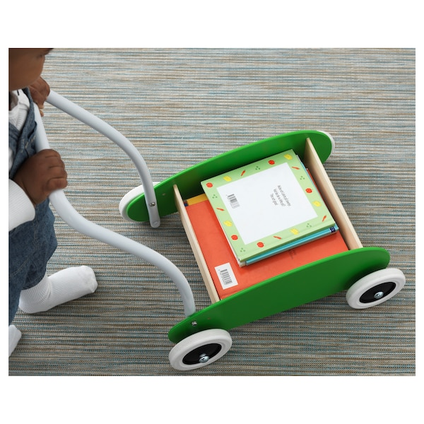 MULA Toddle wagon/walker, green/birch