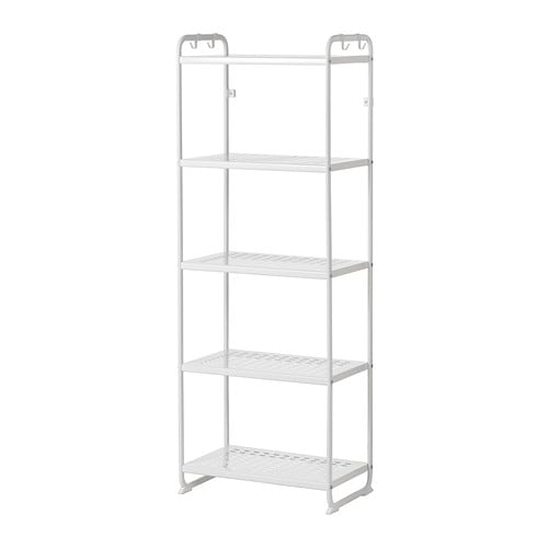 MULIG Shelf unit IKEA Can also be used in bathrooms and other damp indoor areas.  The shelves are durable, stain resistant and easy to clean.
