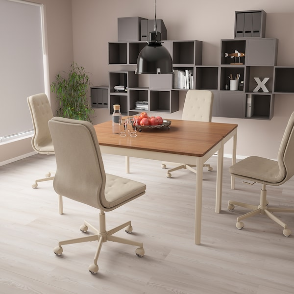 MULLFJÄLLET Conference chair with casters, Naggen beige