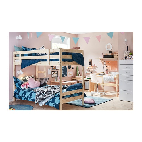 MYDAL Bunk bed frame IKEA The ladder can mount on the left or right side of the bed.  Made of solid wood, which is a durable and warm natural material.