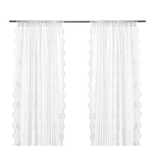 MYRTEN Lace curtains, 1 pair , white Length: 98