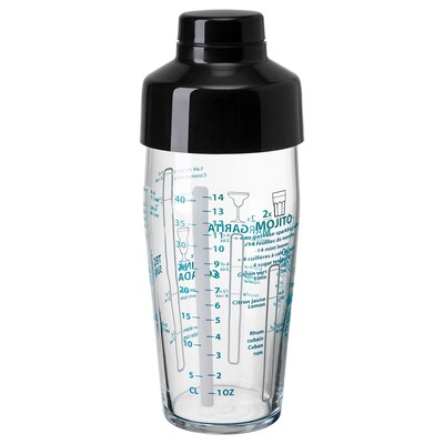 NAPPERA Shaker, clear glass/black