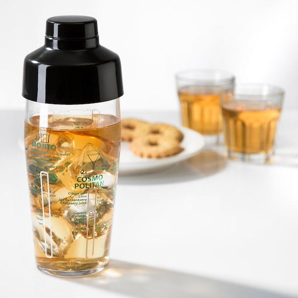 NAPPERA Shaker, clear glass/black