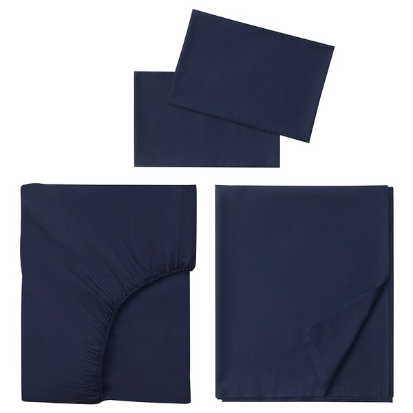 NATTJASMIN Sheet set, dark blue, Queen