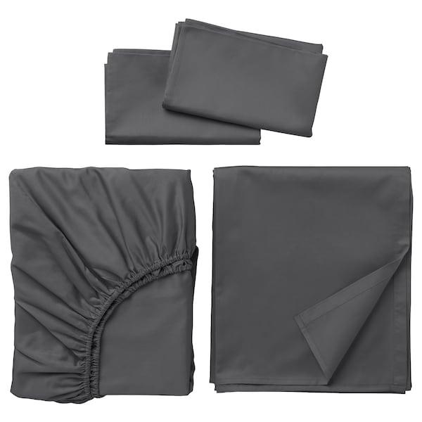 NATTJASMIN Sheet set, dark gray, Queen