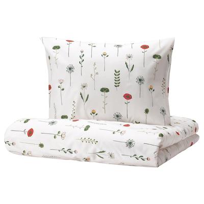 NATTSLÄNDA Duvet cover and pillowcase, floral pattern multicolor, Twin