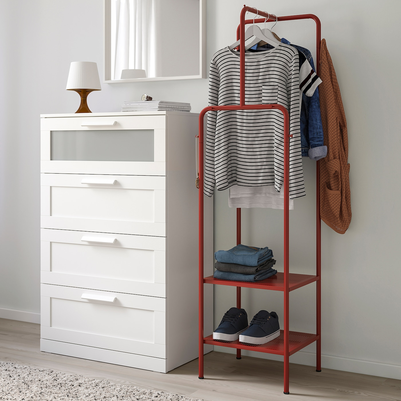 NIKKEBY Clothes rack, red, 17 3/4x66 7/8 ""