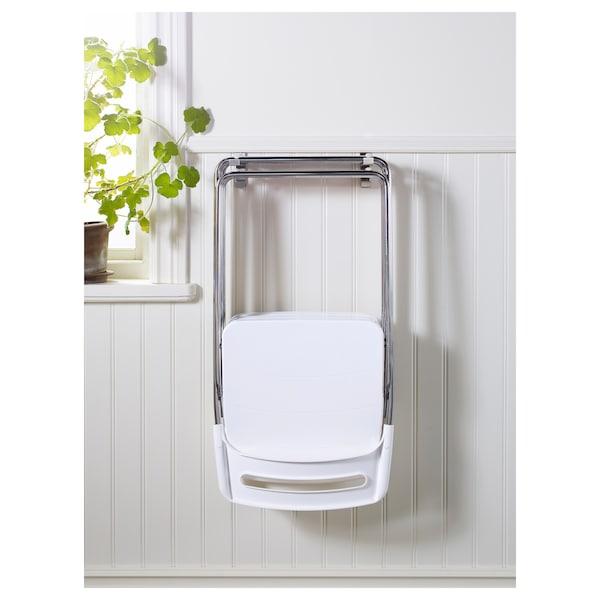 NISSE Folding chair, high gloss white/chrome plated