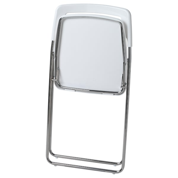 "NISSE folding chair high gloss white/chrome plated 220 lb 17 3/4 "" 18 1/2 "" 29 7/8 "" 15 3/8 "" 16 1/2 "" 17 3/4 """