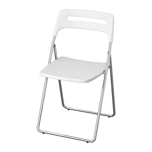 NISSE - Folding chair, high gloss white, chrome plated