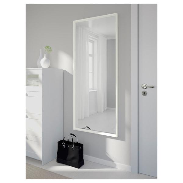 """NISSEDAL Mirror, white, 25 5/8x59 """""""