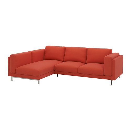 nockeby loveseat with chaise left left risane orange chrome plated ikea. Black Bedroom Furniture Sets. Home Design Ideas