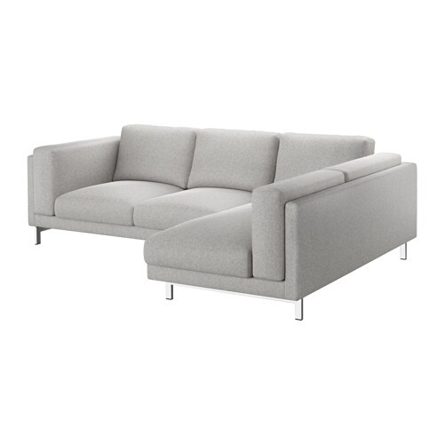Nockeby loveseat with chaise right right tallmyra white black chrome plated ikea - Bank beige ikea ...