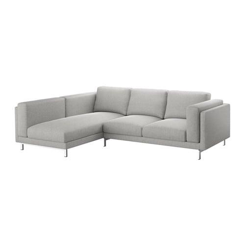 NOCKEBY Sofa, with chaise, left Tallmyra, Tallmyra chrome plated white/black/chrome-plated with chaise, left/Tallmyra white/black with chaise/chrome plated
