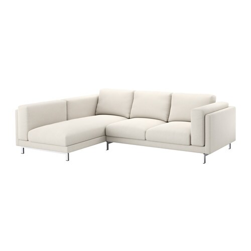 Nockeby sofa left tallmyra light beige chrome plated ikea for Sofa nockeby