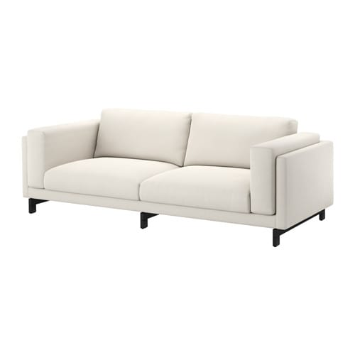 Nockeby sofa tallmyra light beige wood ikea for Canape cuir blanc ikea