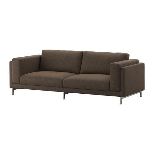 nockeby sofa ten brown chrome plated ikea