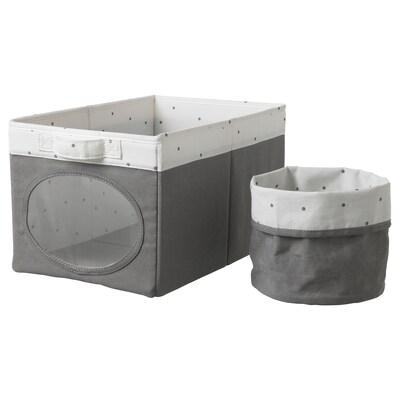 "NÖJSAM Box and basket, gray, 9 ¾x14 ½x8 ¾ """