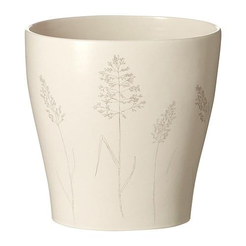 "NÖJD Plant pot, oval, patterned beige Length: 6 "" Width: 4 ¾ "" Max. diameter inner pot: 4 ¾ "" Height: 6 ""  Length: 15 cm Width: 12 cm Max. diameter inner pot: 12 cm Height: 15 cm"