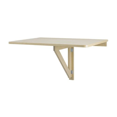NORBO Wall-mounted drop-leaf table IKEA Folds flat; saves space when not in use.  Solid wood, a hardwearing natural material.  Seats 2.
