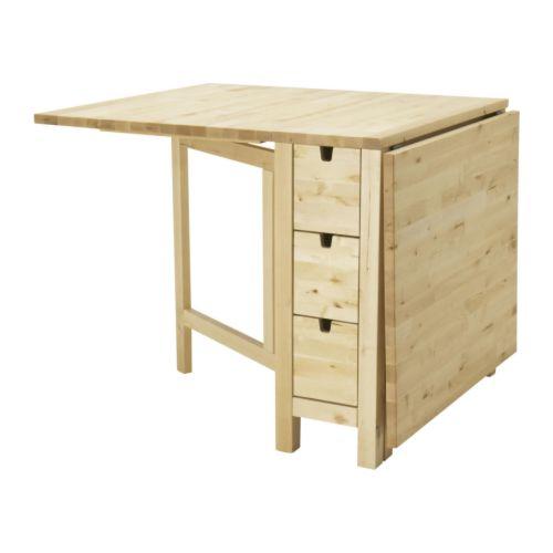 """NORDEN Gateleg table  Length: 35 """" Min. length: 10 1/4 """" Max. length: 59 7/8 """" Width: 31 1/2 """" Height: 29 1/8 """"  Length: 89 cm Min. length: 26 cm Max. length: 152 cm Width: 80 cm Height: 74 cm"""