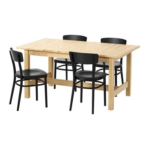 NORDEN / IDOLF Table and 4 chairs, birch, black