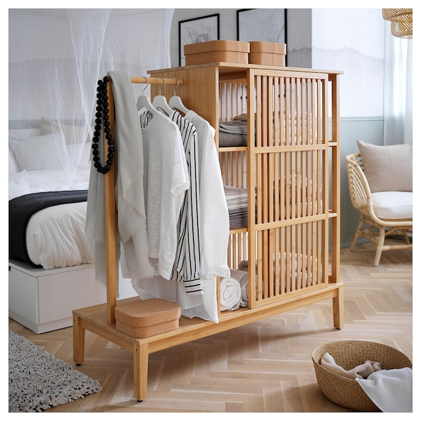 NORDKISA Open wardrobe with sliding door, bamboo, 47 1/4x48 3/8 ""