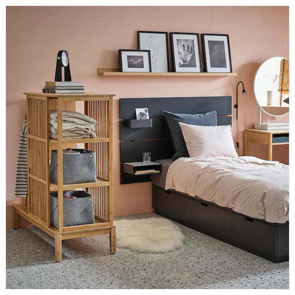 "NORDKISA Open wardrobe with sliding door, bamboo, 47 1/4x48 3/8 """