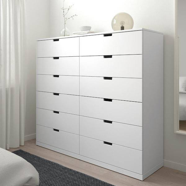 "NORDLI 12-drawer chest, white, 63x57 1/8 """