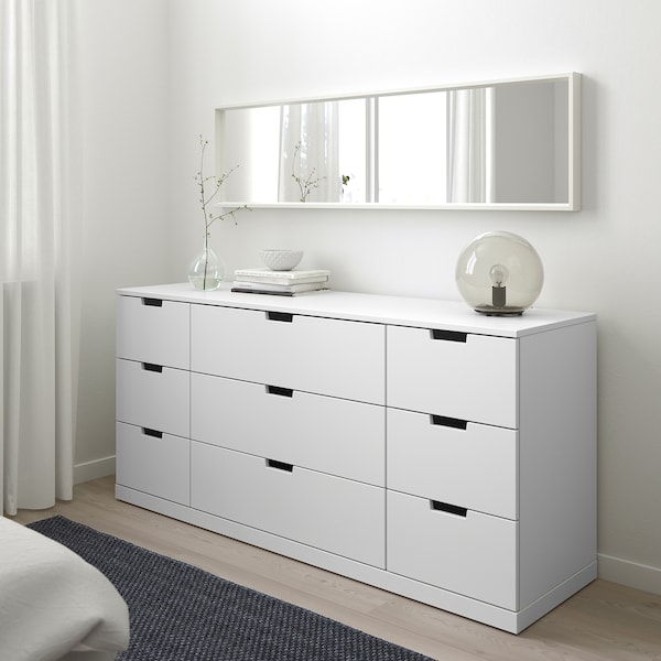 NORDLI 9-drawer chest, white, 63x29 7/8 ""