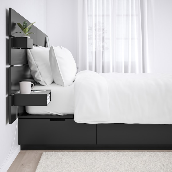 """NORDLI bed with headboard and storage anthracite 6 1/4 """" 79 1/2 """" 94 1/2 """" 11 3/4 """" 22 7/8 """" 20 1/8 """" 44 7/8 """" 78 3/4 """" 63 """""""
