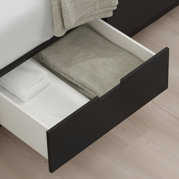 NORDLI Bed frame with storage, anthracite, King