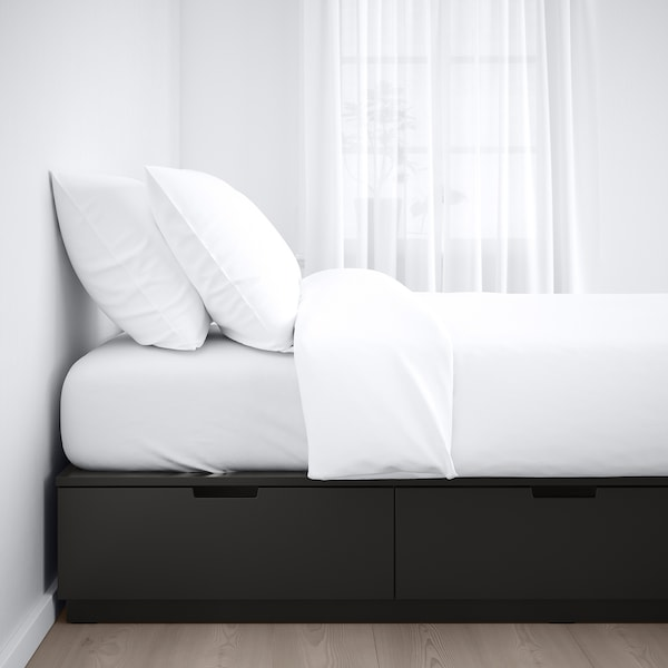 """NORDLI bed frame with storage anthracite 6 1/4 """" 79 1/2 """" 63 """" 11 3/4 """" 22 7/8 """" 20 1/8 """" 78 3/4 """" 63 """""""