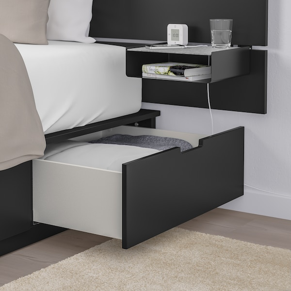 NORDLI Bed with headboard and storage, anthracite, King