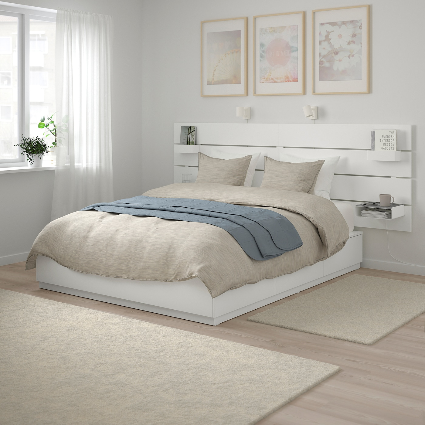 NORDLI Bed with headboard and storage - white Queen