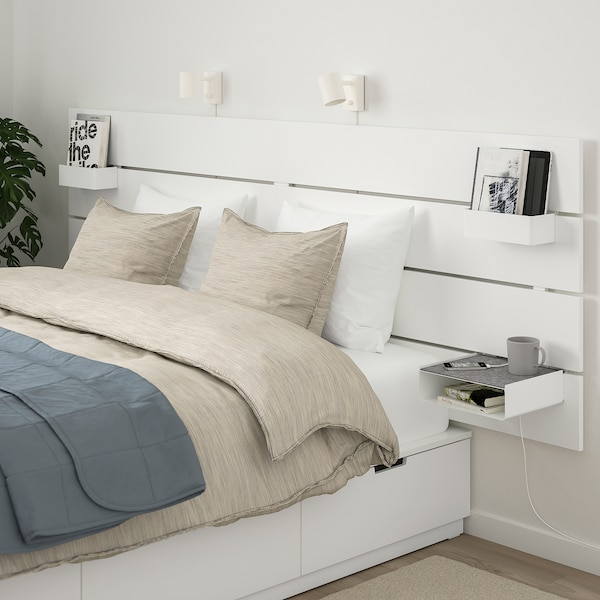NORDLI Bed with headboard and storage, white, King