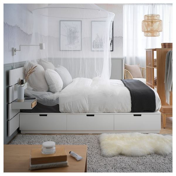 NORDLI Bed with headboard and storage, white, Queen