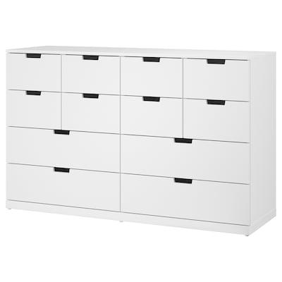 """NORDLI 12-drawer chest white 63 """" 18 1/2 """" 39 """" 15 3/8 """""""